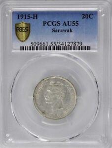 1915 H Sarawak 20 Cents, PCGS AU 55, Very Scarce Date, Malaysia