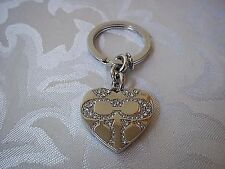 Authentic Coach Pave Crystal Silver Heart Locket Keychain keyfob 92416 Rare