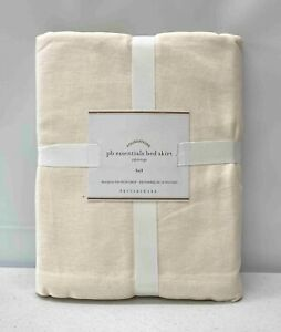 "NEW Pottery Barn PB Essential Cotton & Linen FULL Bedskirt w/18"" Drop~Ivory"