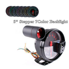 "5"" Stepper motor Car RPM 11000K Tachometer Gauge Warning light background 7color"