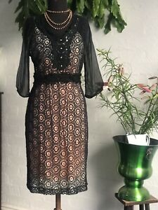 'Moss And Spy 'Black Crochet In Cotton Dress ,  60s Style , Sheer Sleeves Sz 12