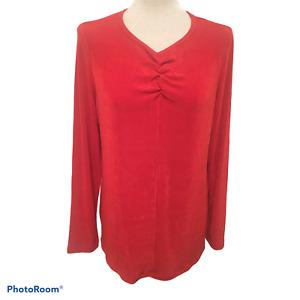 KIM & CO QVC Garnet Red Slinky Stretch Needle Jersey Long Sleeve Top SIZE M