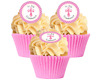 12 Pre Cut Pink Polka dot 1st Holy Communion Edible Cupcake Decorations Toppers