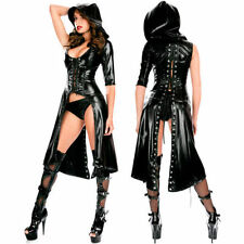 Lingerie Black PVC FAUX LEATHER Gothic Coats Evening Cocktail Party Dress NA514