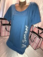 Victorias Secret Cotton Sleep Shirt Nightie Blue W/VS Logo  Small