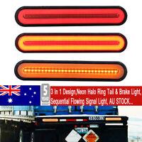 2x 100 LED Flowing Reverse Stop Brake Turn Signal Rear Tail Light Truck Trailer
