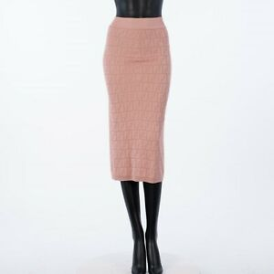 FENDI 1190$ Pink Midi Skirt With FF Motif Inlay