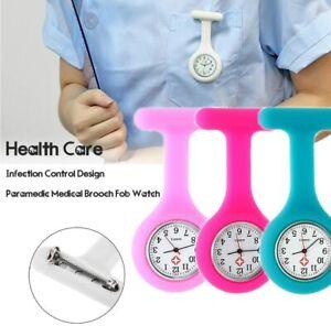 Silicon Nurse Watch Tunic Quartz Fob Pocket Brooch Washable Batteries Included