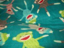 Bright sock monkey personalized  fleece blanket 36x30