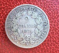 France - Cérès - Très Rare monnaie de 2 Francs 1871 K - variété avec grand K