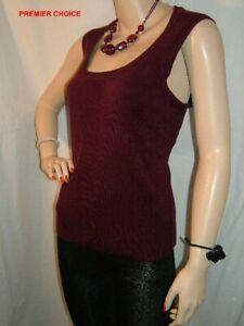 13/2 NEW BURGUNDY SLEEVELESS SCOOP NECK SOFT TOUCH KNITTED TU TOP 14