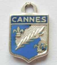 CANNES small vintage sterling silver enamel travel shield souvenir charm