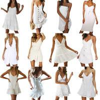 Women White Holiday Maxi Long Sling Dress Party Boho Summer Beach Mini Sundress