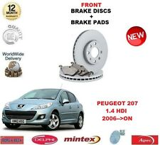 FOR PEUGEOT 207 1.4 HDi 2006-> FRONT BRAKE DISCS SET + DISC PADS KIT