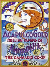 ADVERT ACAPULCO GOLD ROLLING PAPERS AMORPHIA CANNABIS USA SIXTIES PRINT LV490