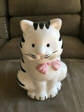 "Vintage Cookie Jar, White cat w/Black Stripes, Pink Bow, Marked ""R M 28"""
