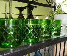 (4) ROCK GLASSES EMERALD GREEN CRYSTAL drink glass diamond pattern