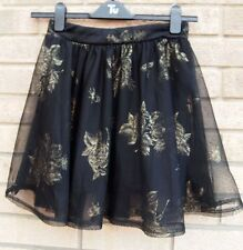 PRIMARK BLACK MESH GOLD ROSES PRINT PARTY TUTU PARTY EVENING SKATER SKIRT 12 M