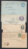 FOUR Great Britain Used Stationery Envelopes to Europe and USA Some Faults etc