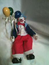 "Vintage Porcelain/Ceramic Clown Doll With Balloon Jointed Body 8"" tall Standing"