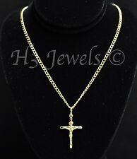 14k solid yellow gold hollow curb chain necklace & cross pendant  #3504 4.0gram
