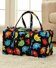 Elephants Design Quilted Duffel Bag Pockets Handles Colorful Travel Luggage