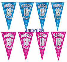 Party Bunting Happy 18th Birthday Pink Holographic 11 Flags 3.9m