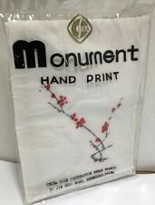 New Two Hand Painted Silk Vintage Chinese Handkerchief Monument Print Unopened.