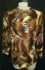 Nicole Woman Ladies Jumper in a Brown Abstract Animal Print Crewneck Size M