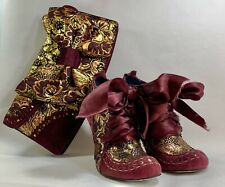 Irregular choice Abigail's Party Purple Gold Suede Ankle Boots UK 4 & Clutch Bag