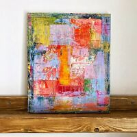 """Original Abstract Acrylic Painting Contemporary 10 x 12"""" Cubism Fine Art Signed"""