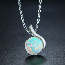 Bright Round White Fire Opal 925 Sterling Silver Pendants Chain Necklaces