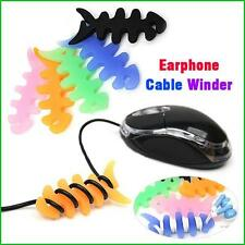 Fish Bone Cord Winder Silicone Earphone Cable Rollers Winders Wire Organisers