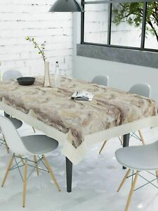 60x90In, 6 Seater Brown & Beige Abstract Design PVC Table Cover,Color May Vary
