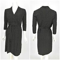 Womens Hobbs Wrap Dress Black Viscose Rayon Polka Dot V-Neck Size UK10 / 6US