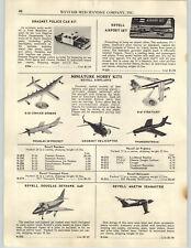 1956 PAPER AD Dragnet Toy Police Car Kit Revell Model Airplanes Douglas Skyhawk