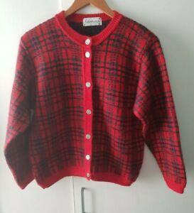 Edinburgh Cardigan Button Up Size M Red Check Mohair Blend