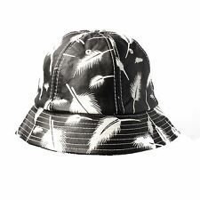 Black Feather PVC Leather Bucket Hat