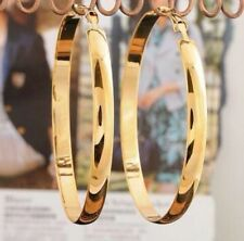 "9ct 9K Yellow "" Gold Filled"" Ladies Girls Large Plain Hoop Earrings . 65mm Gift"