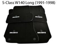 Floor Mats For Mercedes Benz S Clas W140 Long BRABUS Emblem Black Leather Rounds