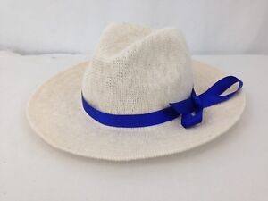 Oysho Unisex M Lt White Tan Cotton Blend Blue Ribbon Panama Beach Summer Hat