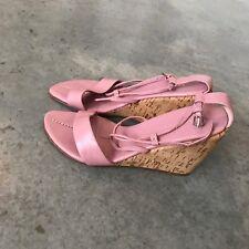 Colin Stuart Pink Sandals Cork Espadrilles Open Toe Shoes Wedges R SZ 8M 8 M