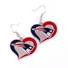 New England Patriots swirl heart earrings dangle charm FAST USA SHIPPING