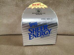 Vintage 1992 Leggs Sheer Energy Pantyhose Reinforced Toe White Size B