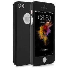 Rundum 360° Full Cover Schutzhülle Panzerglas Apple iPhone SE / 5S / 5 - schwarz