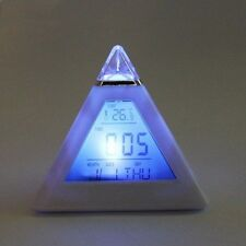 Alarm Clock Changing Color 7 LED Pyramid Digital LCD Desk W/Thermometer Clock