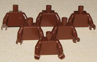LEGO LOT OF 6 PLAIN REDDISH BROWN MINIFIGURE TORSOS BODY PARTS