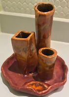 Vtg 70s Multi Spout Ceramic Vase Vessel Retro Mid Century Modern Pottery Signed