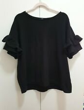 French Connection Black Ruffle Sleeves Top Size Large