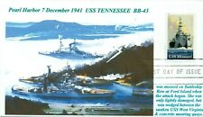 USS TENNESSEE BB-43 Battleship Pearl Harbor 1941 Color Art Naval First Day PM